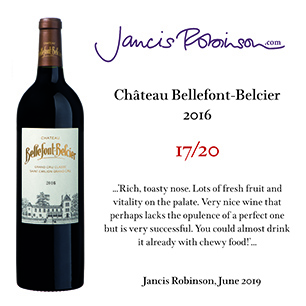 09/08/2019 - Château Bellefont-Belcier 2016 is attributed 17/20 by Jancis Robinson.