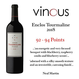 07/01/2020 - Enclos Tourmaline 2018 is attributed 92- 94 points by Vinous